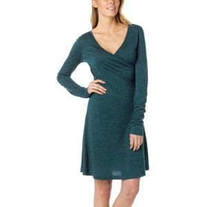Prana Nadia  Small Teal Green Faux Wrap Ruched Wool Blend Knit Jersey Dress